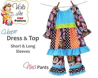 Harper Toddler Dress Pattern pdf. Girl's Peasant Dress Pattern. Girls Sewing Pattern. Toddler Sewing Pattern. Girls Dresses Sewing Pattern