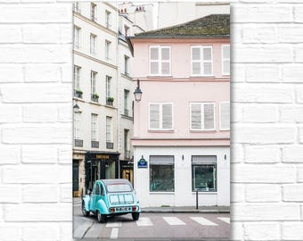 Paris Photo on Canvas - Aqua Vintage Car in Saint Germain, Gallery Wrapped Canvas, Architectural Urban Home Decor, Large Wall Art
