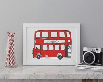 Simply London Bus A4 Print
