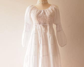 Mid Year SALE White Dress White Bohemian Dress Hippie Dress White Beach Lace Boho Dress Heirloom Vintage Style Dress