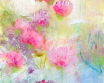 "Soft Abstract Floral, Light, Cheerful Original Flowers on Canvas, Colorful Artwork ""Pink Clover"" 20x24"""
