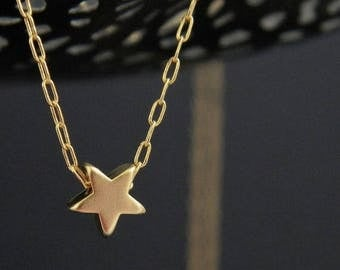 SALE Tiny Gold Star Charm Necklace