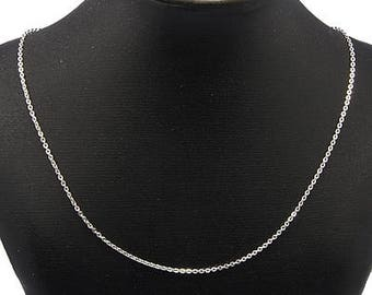 "Silver 304 Stainless Steel Cable Chain Necklace with Lobster Claw Clasp - 20""(50.8cm) long"