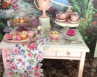 Dollhouse Miniature Vintage Shabby Chic Farmhouse Country Shabby Chic Vintage Filled Sweets Table