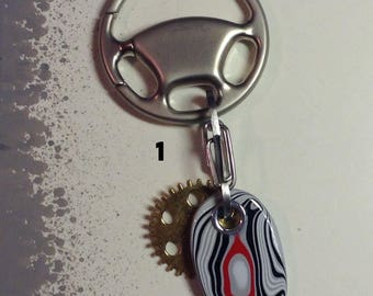 3 Fordite: Vintage Car Paint 70s 80s Stone & Gear Keychain with Chorme Steering Wheel Ring Gear Accent