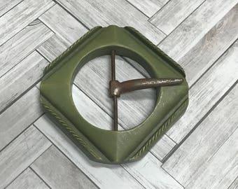 Bakelite Celadon Green Carved Deco 1930-40's Belt Buckle