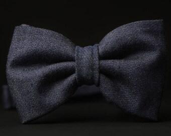 Blue Bow tie, Blue Denim bow tie, Denim Bow tie, Everyday bow tie
