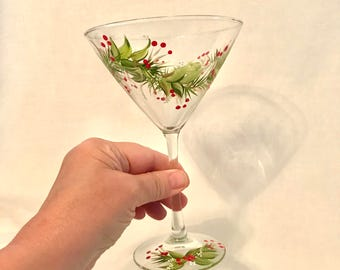 Free shipping Christmas Holiday hand painted Martini glass can be personalized