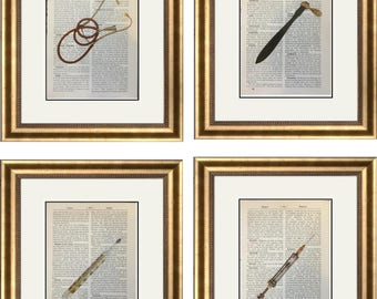 4 Vintage Doctor Prints Gold Medical Equipment Stethoscope Syringe Gift Health Dictionary Vintage Upcycled Book Art