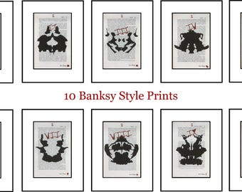 10 Banksy Style Hermann Rorschach Inkblot Test Prints Doctor Psychology Psychiatry Freud Gift Mental Medical Dictionary Book Art