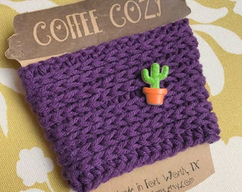 Reusuable Coffee Cozy with Cactus Button
