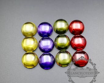5pcs 12mm round red purple yellow olive green high quality artificial zircon cabochon DIY supplies 4110138