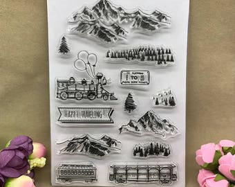 Mountains Trees and Trains Clear Stamp Set