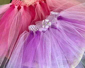 special offer pair of baby tutus in two sizes purple and pink