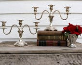 Pair of Cheshire Silver Plated Candelabras - Candlesticks - Tarnished Silved - Vintage Silver - Antique Silver -Home Decor - French Country