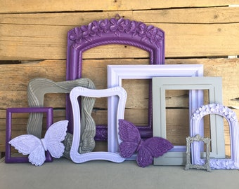 Purple Lilac Grey With BUTTERFLIES OPEN Frames Set Of 8   Upcycled Frames  Nursery Dorm Room