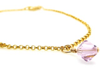 Gold Birthstone Necklace/Swarovski Charm/Simple Elegant Bridesmaids/Sister/Mom/Friend Gift