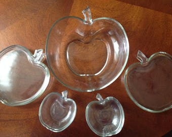 Clear Glass Apple Dishes Set, Apple Glass Dishes, Apple Bowl, 11 Piece Set of Apple Dishes