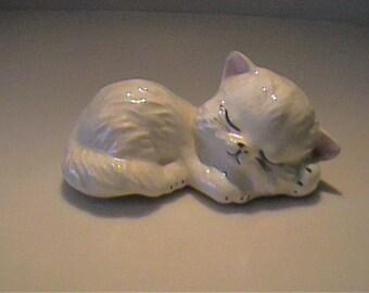 Vintage ceramic white sleeping kitty cat