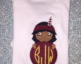 Baby Infant Seminole Mascot Applique with Personalized Monogram on a Short or Long Sleeve Onesie