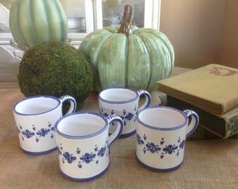 Taylor Deruta R. Bonchi Imports Small Blue and White Italian Coffee Mugs