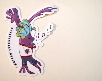 Singing Neuron Die Cut Vinyl Sticker