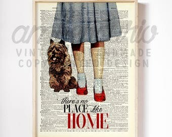 No Place Like Home Original Wizard of Oz Print on an Unframed Upcycled Bookpage