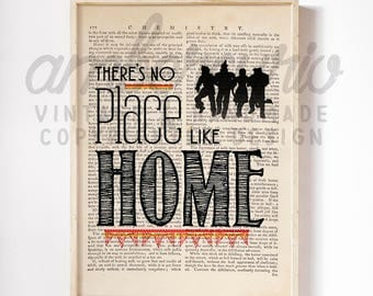 There's No Place Like Home Wizard of Oz Inspired Print on an Antique Upcycled Unframed Bookpage