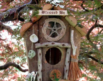 Pagan Wiccan Sea Witches Cabin Bird House / Herb Dryer / Key Hanger. Bird Feeder. Handfasting Home Blessing Gift. Handmade.