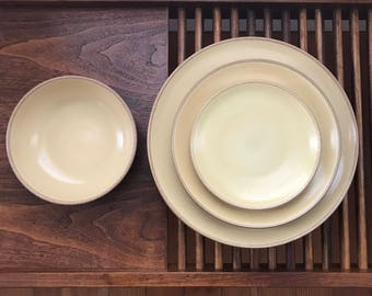 Set of Vintage Edith Heath Pale Yellow Plates/Bowl