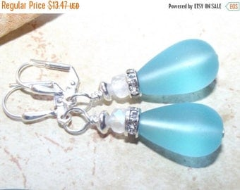ON SALE Cultured Lilac Aqua Sea Glass Earrings - Beach Wedding Jewelry - Sea Glass Earrings - Sea Glass Jewelry - Blue Sea Glass Earrings