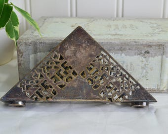Napkin and card holder, vintage letter and bill stand, tarnished silver plate, 50s table decor