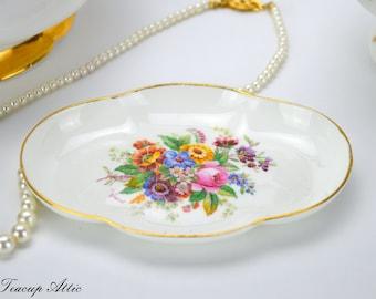Coalport Fragrance Silver Tray, English Bone China Dish, Vintage Trinket Tray,  ca. 1926