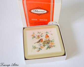 Set of 6 Pimpernel Coasters in Original Box, Four Traditional Coasters Robin And Roses Pattern, Hostess Gift,  ca. 1980