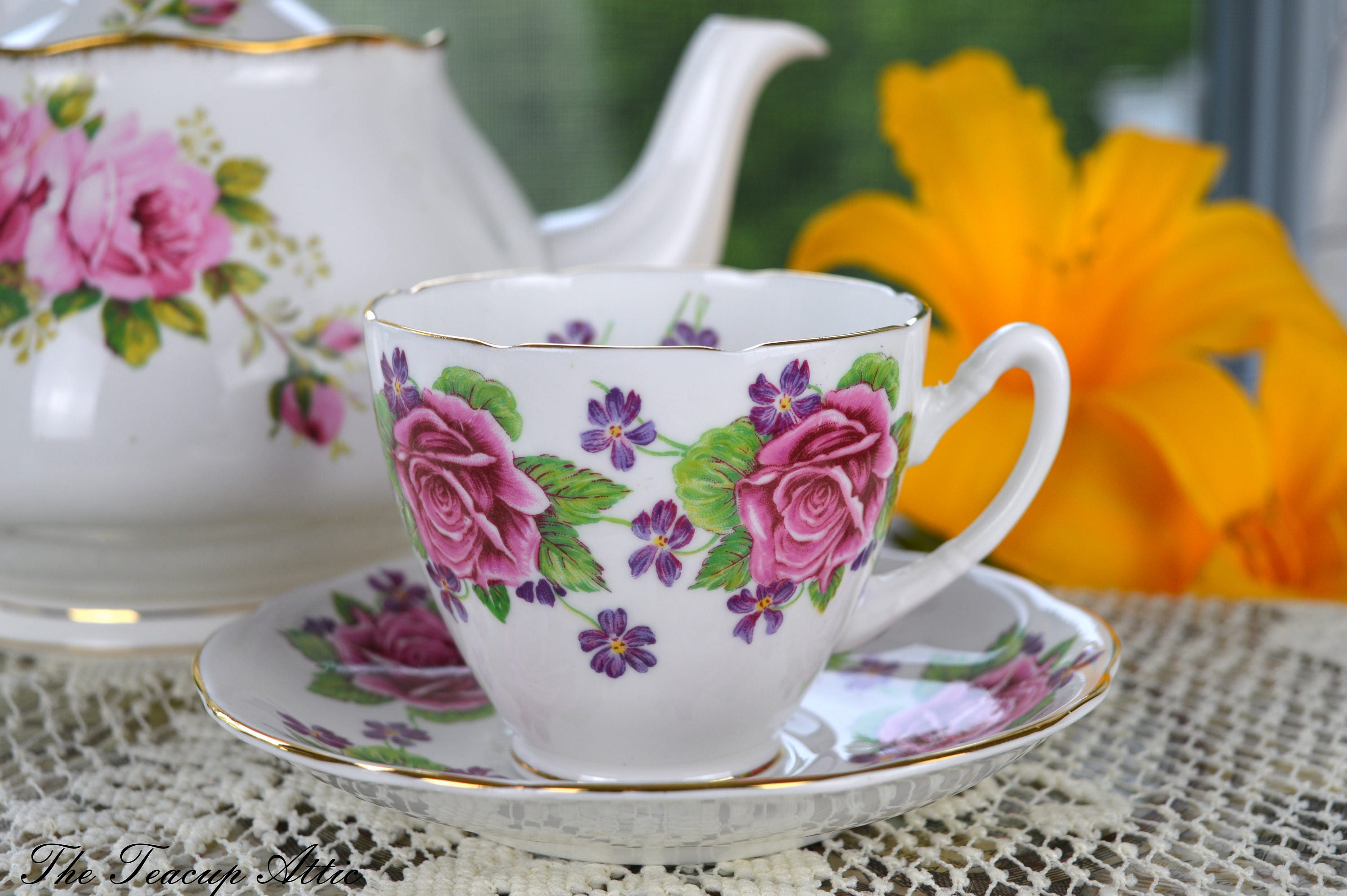 Gladstone Roses and Violets Teacup and Saucer, English Bone China Tea Cup Set, Garden Tea Party, ca. 1946-1961
