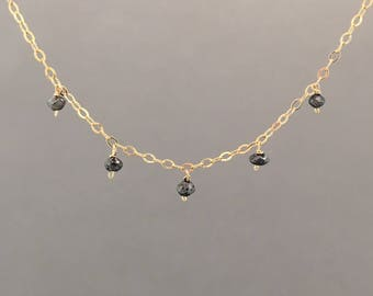 Five Black Diamond Stone Gold Necklace Also in Rose Gold or Silver