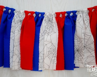 Spiderman Fabric Bunting - FREE Shipping - Spiderman Bunting - Spiderman Garland - Spiderman Banner - Spiderman Party - Spiderman Decor