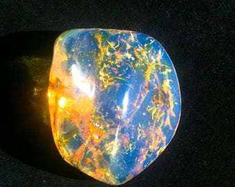 20 g.  Fully  Polished Dominican  Blue Amber  Stone   55  MM