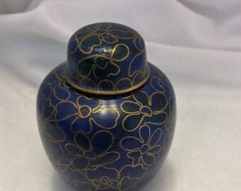Vintage gold and blue mini Cloisonné Ginger Jar - in gift box.