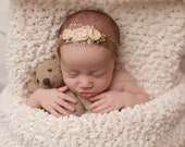 NEWBORN TIEBACK {Peaches} Newborn Headband, Newborn Photo Prop, Photography Props, Newborn Headband, Newborn Flower Crown, Newborn Halo
