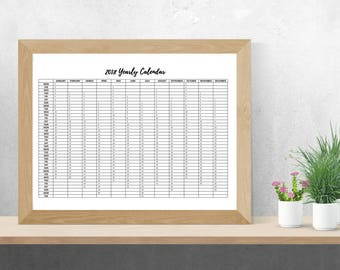 2018 A3 Yearly Planner Printable | Yearly Calendar | 2018 Calendar *Digital Download*
