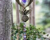 GUARDIAN ANGEL Handmade Wish Catcher, Dream Catcher, Window Charm, Suncatcher, with Swarovski Crystal