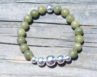 Natural Jade and Sterling Silver Beaded Stretch Bracelet in multiple sizes