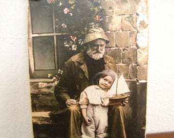 Victorian Summer,Fisherman,child,pond yacht,seaside cabinet photo image on shabby chic wooden tag,door hanger