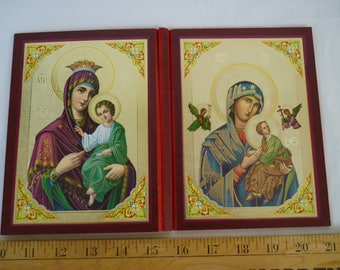 Vintage Greek religious prints on card,Our Lady with the baby Jesus,Greek Orthodox icon