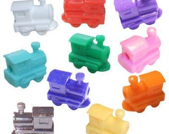 50 Train Beads - Assorted Colors