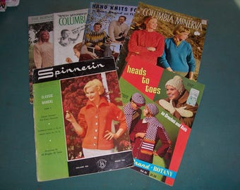 Collection of 6 Vintage 1960's Knitting and Crochet Pattern Books for Men and Ladies..Neat Mid Century Patterns..Columbia Minerva..Spinnerin