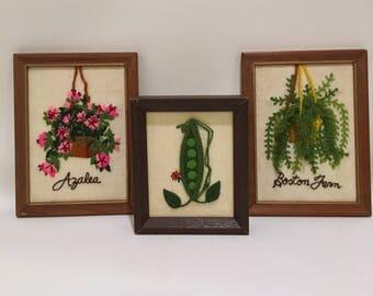 Vintage Needlepoint Artwork Boston Fern Azalea Green Pea