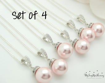 Pink Pearl necklace Swarovski Crystal Pink Pearl Jewelry Bridesmaid Jewelry Bridal necklace Wedding Jewelry Set 10% Off