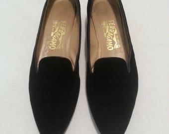 SALE!!!  Black Textured Fabric Salvatore Ferragmo Shoes Size 9AAA